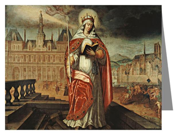 Custom Text Note Card - St. Genevieve by Museum Art