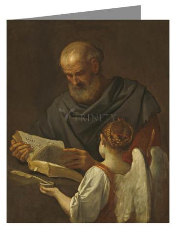 Custom Text Note Card - St. Matthew and Angel by Museum Art