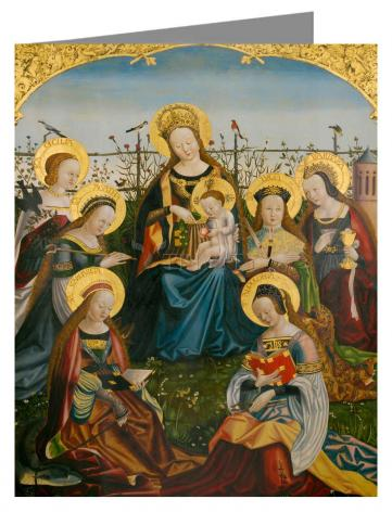 Custom Text Note Card - Mary and Child with Saints by Museum Art