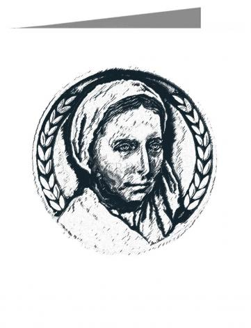 Custom Text Note Card - St. Bernadette of Lourdes - Pen and Ink by D. Paulos