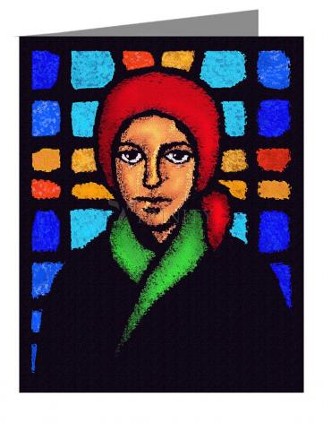 Custom Text Note Card - St. Bernadette of Lourdes - Stained Glass by D. Paulos