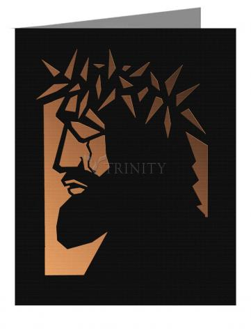 Custom Text Note Card - Christ Hailed as King - Brown Glass by D. Paulos