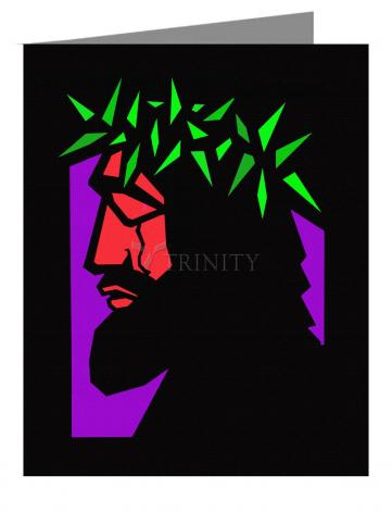 Custom Text Note Card - Christ Hailed as King - Stained Glass by D. Paulos