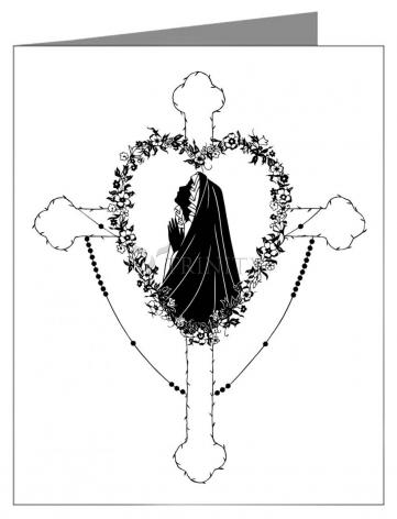 Custom Text Note Card - Our Lady of the Rosary by D. Paulos