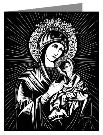 Custom Text Note Card - Our Lady of Perpetual Help by D. Paulos