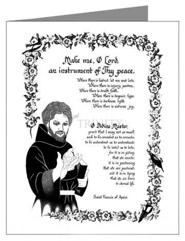 Custom Text Note Card - Prayer of St. Francis by D. Paulos