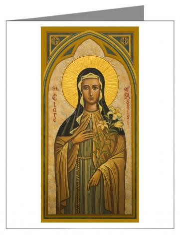 Custom Text Note Card - St. Clare of Assisi by J. Cole