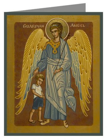 Custom Text Note Card - Guardian Angel with Boy by J. Cole