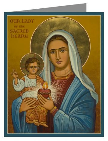 Custom Text Note Card - Our Lady of the Sacred Heart by J. Cole
