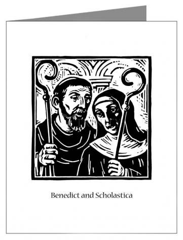 Custom Text Note Card - Sts. Benedict and Scholastica by J. Lonneman