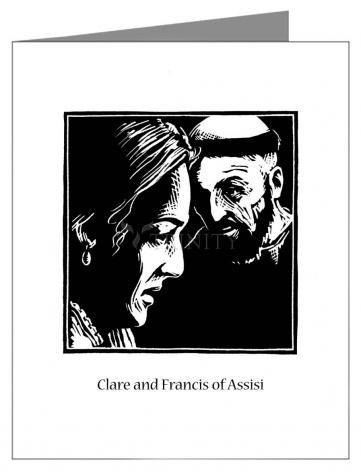 Custom Text Note Card - Sts. Clare and Francis by J. Lonneman