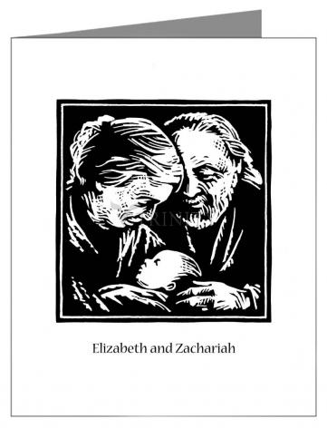 Custom Text Note Card - St. Elizabeth and Zachariah by J. Lonneman