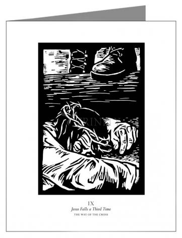 Custom Text Note Card - Traditional Stations of the Cross 09 - Jesus Falls a Third Time by J. Lonneman