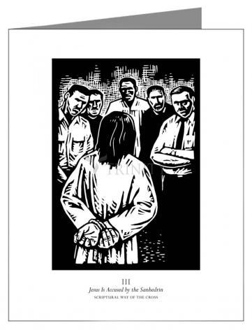 Custom Text Note Card - Scriptural Stations of the Cross 03 - Jesus is Accused by the Sanhedrin by J. Lonneman