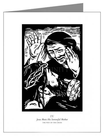 Custom Text Note Card - Traditional Stations of the Cross 04 - Jesus Meets His Sorrowful Mother by J. Lonneman