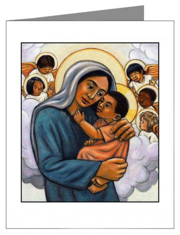 Custom Text Note Card - Madonna and Child with Cherubs by J. Lonneman