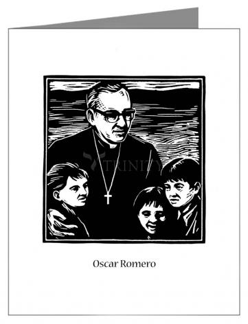 Custom Text Note Card - St. Oscar Romero by J. Lonneman