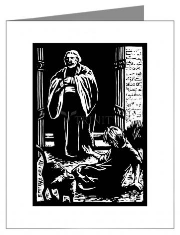 Custom Text Note Card - St. Lazarus and Rich Man by J. Lonneman