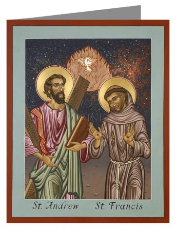 Custom Text Note Card - Sts. Andrew and Francis of Assisi by L. Williams