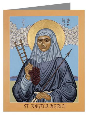 Custom Text Note Card - St. Angela Merici by L. Williams