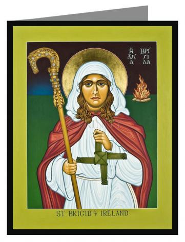 Custom Text Note Card - St. Brigid of Ireland by L. Williams