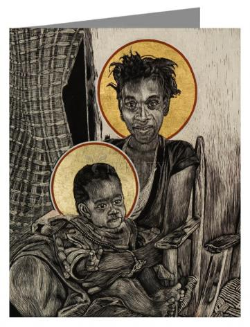 Custom Text Note Card - Christmas Madonna - Haiti by L. Williams