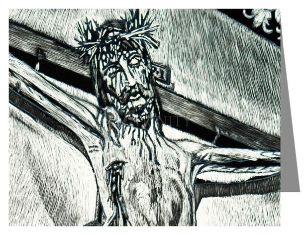 "Custom Text Note Card - Crucifix, Coricancha Peru: ""I Thirst"" by L. Williams"