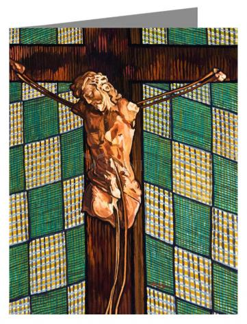Custom Text Note Card - Fr. Tom's Crucifix by L. Williams