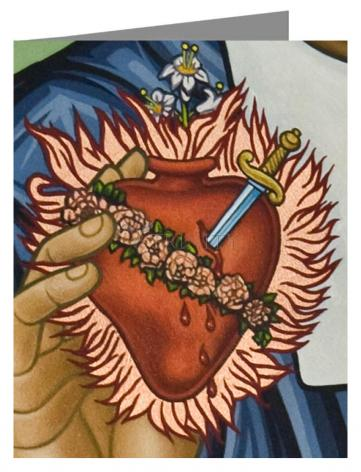 Custom Text Note Card - Immaculate Heart of Mary by L. Williams
