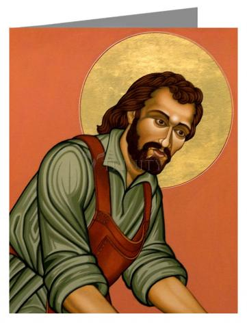 Custom Text Note Card - St. Joseph the Worker by L. Williams