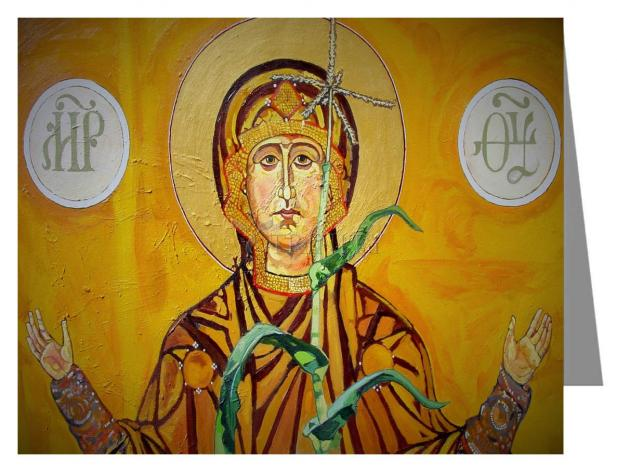Custom Text Note Card - Our Lady of the Harvest by L. Williams