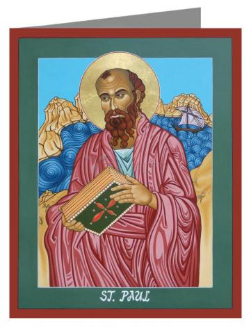 Custom Text Note Card - St. Paul of the Shipwreck by L. Williams