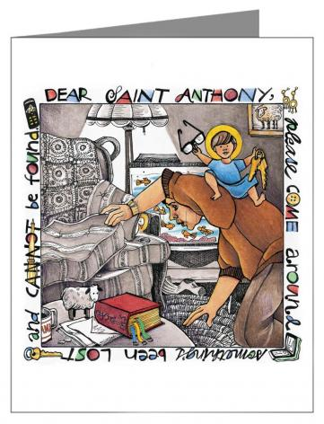 Custom Text Note Card - St. Anthony of Padua by M. McGrath