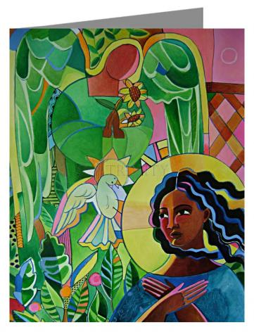 Custom Text Note Card - Annunciation Quilt by M. McGrath