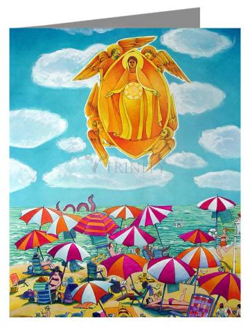 Custom Text Note Card - Mary, Assumption Over Bethany by M. McGrath