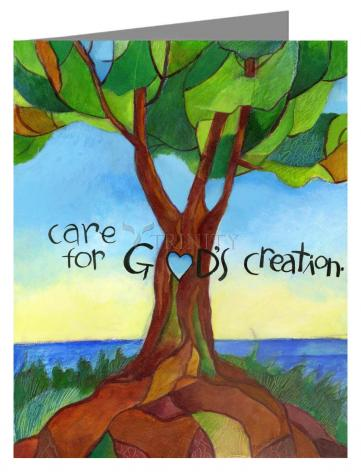 Custom Text Note Card - Care For God's Creation by M. McGrath