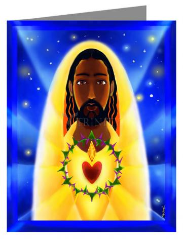 Custom Text Note Card - Cosmic Sacred Heart by M. McGrath