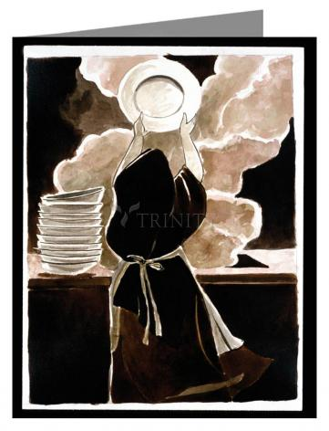 Custom Text Note Card - St. Thérèse Doing the Dishes by M. McGrath