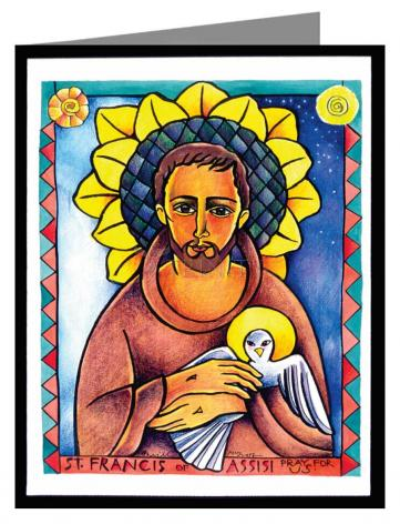 Custom Text Note Card - St. Francis of Assisi by M. McGrath