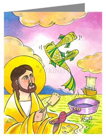 Custom Text Note Card - Jesus: Fish Fry With Friends by M. McGrath