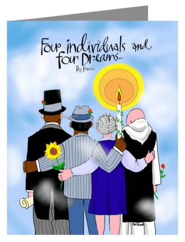 Custom Text Note Card - Four Individuals and Four Dreams by M. McGrath