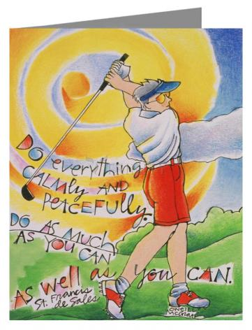 Custom Text Note Card - Golfer: Do Everything Calmly by M. McGrath