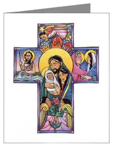 Custom Text Note Card - Holy Family Cross by M. McGrath