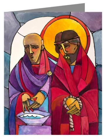 Custom Text Note Card - Stations of the Cross - 1 Jesus is Condemned to Death by M. McGrath