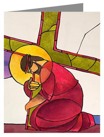 Custom Text Note Card - Stations of the Cross - 3 Jesus Falls the First Time by M. McGrath