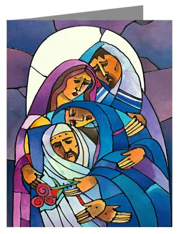 Custom Text Note Card - Stations of the Cross - 14 Body of Jesus is Laid in the Tomb by M. McGrath