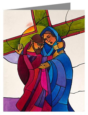 Custom Text Note Card - Stations of the Cross - 4 Jesus Meets His Sorrowful Mother by M. McGrath
