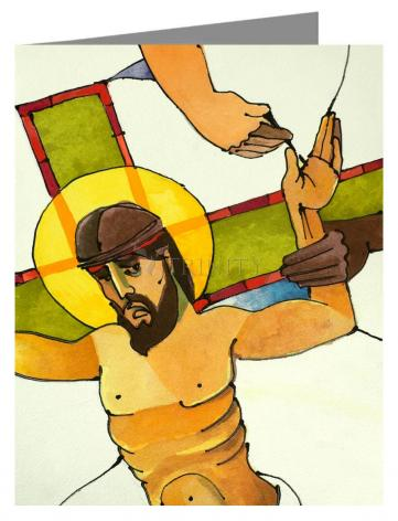 Custom Text Note Card - Stations of the Cross - 11 Jesus is Nailed to the Cross by M. McGrath