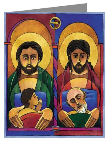 Custom Text Note Card - St. Joseph and Jesus by M. McGrath