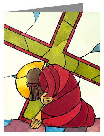 Custom Text Note Card - Stations of the Cross - 7 Jesus Falls a Second Time by M. McGrath